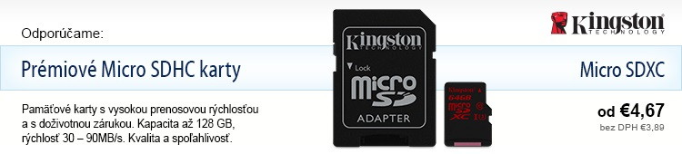 Kingston Prémiové Micro SDHC karty