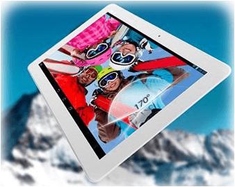 Tablet Asus zobrazující obrázek lyžařů pod velkým úhlem