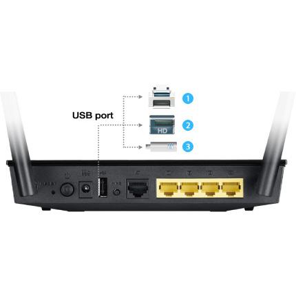 USB port pro připojení externích zařízení